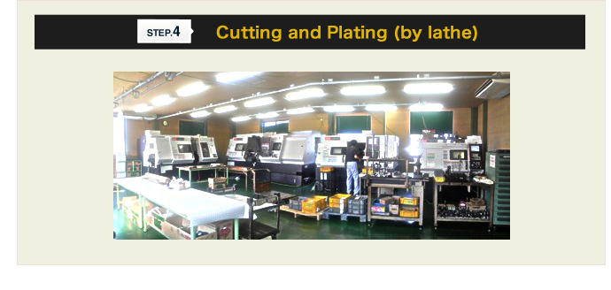 Step.4 Cutting and Plating (by lathe)
